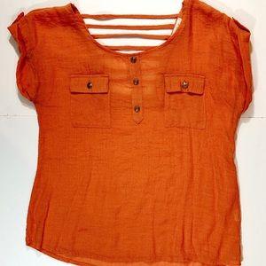 Women's Anthropologie Orange Caged-Back Blouse